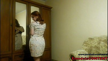 Redhead amateur wife in summer dress with big natural boobs on homemade vid