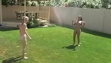 Tawnee Stone & Dirty Aly play in sprinkler