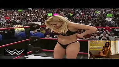 TRISH STRATUS SHOWING HER BLACK BRA & THONG